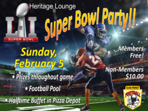 Super Bowl Party at the Heritage Lounge