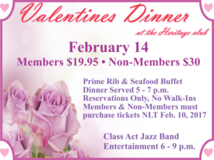 Valentines Dinner at the Heritage Club