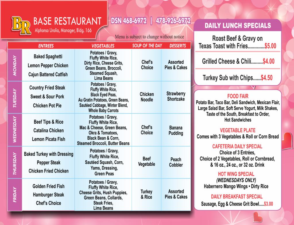 Base Restaurant Feb Menu