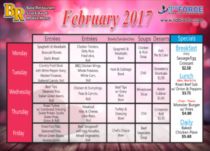 Snack Bar Feb. Menus