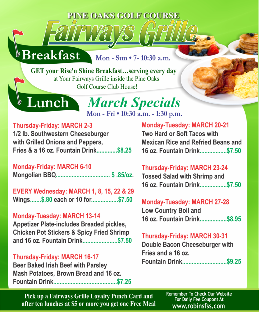 Fairways Grille March Specials