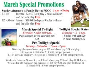 Golf Course March Specials