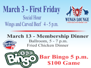 Heritage Lounge March Events