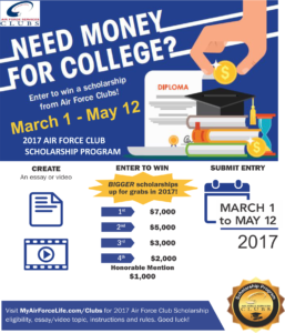 Need Money for College? 2017 AF Club Scholarship Program