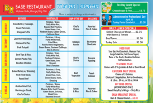 Base Restaurant April Menu