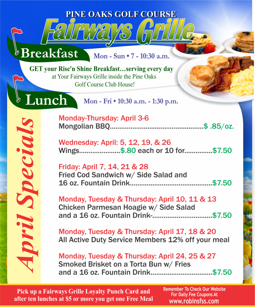 Faireways Grille April Specials