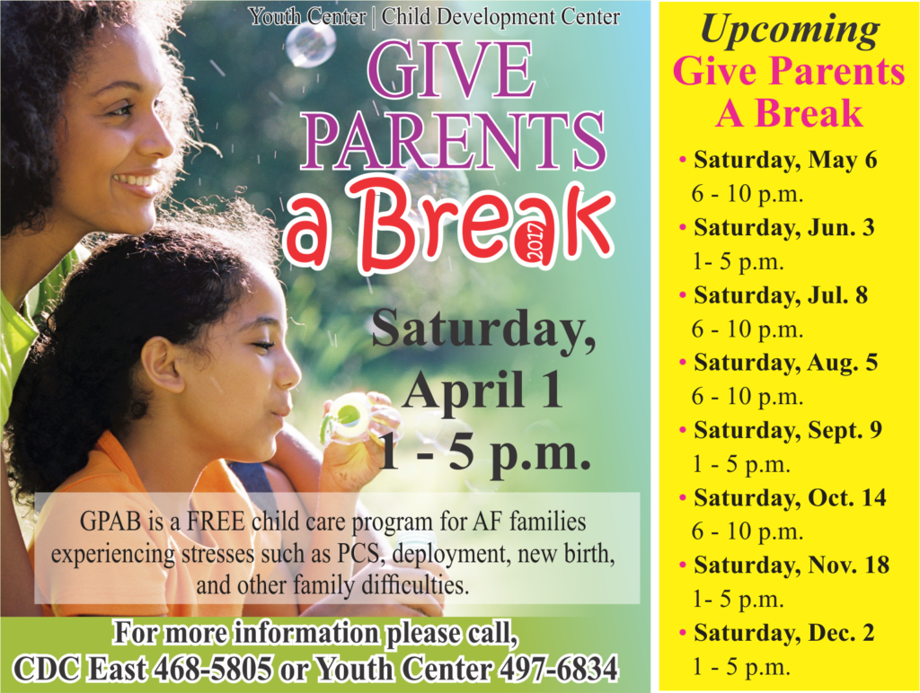 Give Parents a Break April 1
