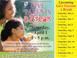 Give Parents a Break April 1