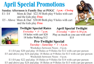 Golf Course April Special Promotions
