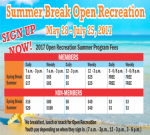 """Sign Up Now at the Youth Center """"Summer Break Open Recreation"""""""