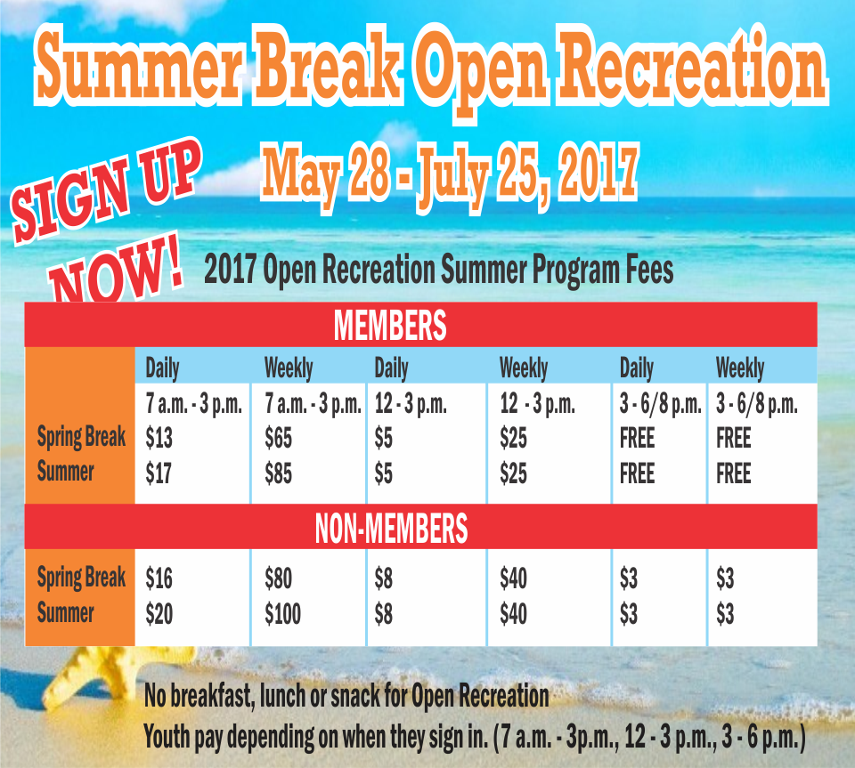 "Sign Up Now at the Youth Center ""Summer Break Open Recreation"""