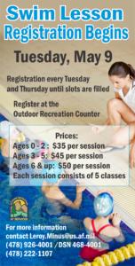 Swim Lesson Registration Begins May 9th