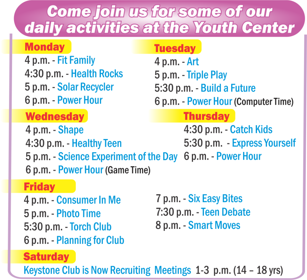 Youth Center Daily Activities during April