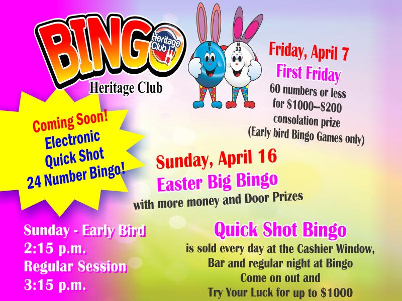 Big Bingo April Events