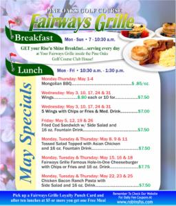 Fairways Grille May Specials