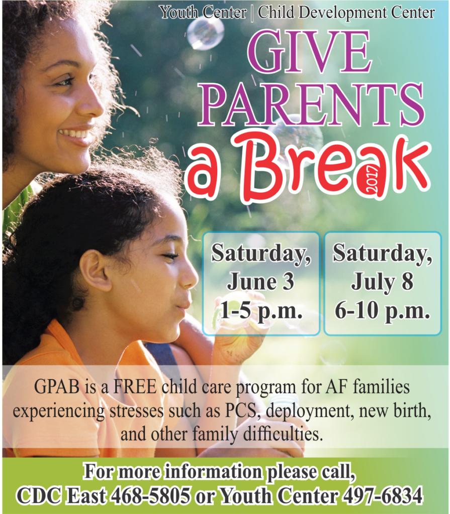 Give Parents a Break June 3rd