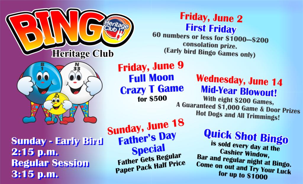 Bingo June Events