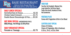 Base Restaurant July Daily Specials
