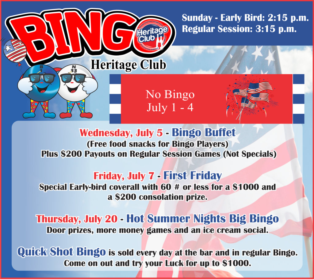 Bingo July Events
