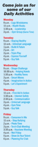 Youth Center Daily activities for the month of July