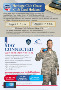 Heritage Club, Chase Club Card Holders!