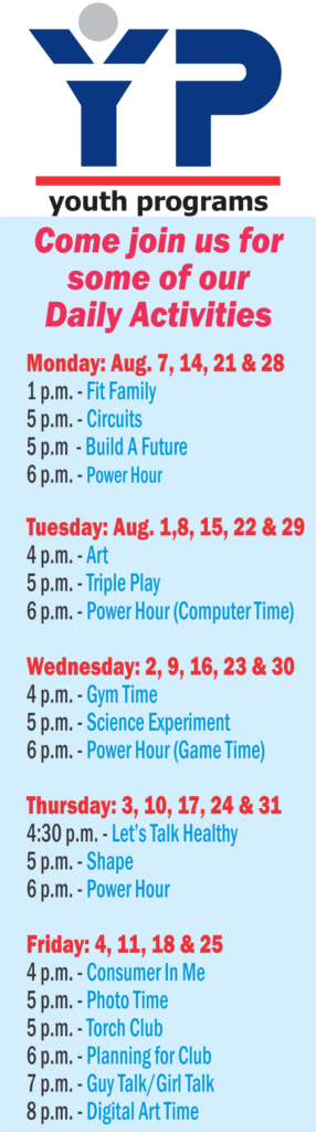 Youth Center August Programs