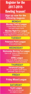 Bowling Weekly League play Register Now!