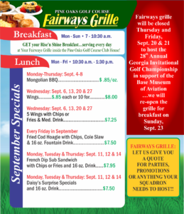 Fairways Grille September Specials