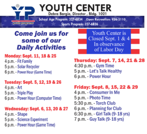 Youth Center Daily Activities in September