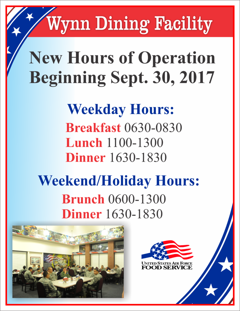 Wynn Dining Facility, New Hours of Operation Starting Sept 30th