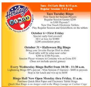 Heritage Bingo Oct Events
