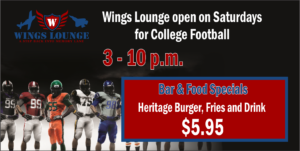 Wings Lounge Open on Saturdays for College Football