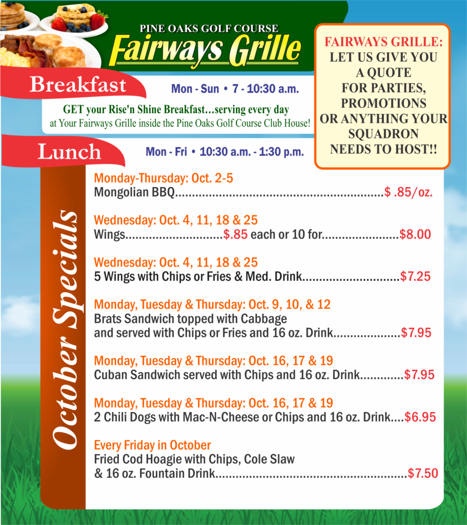 Fairways Grille Oct. Special