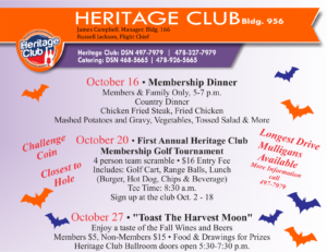 Oct Events at the Heritage Club