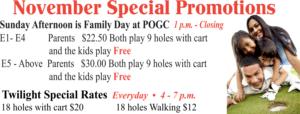 November Special Promo at the Golf Course