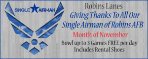 Single Airman Bowl 3 Games Free per day for the month of November