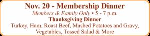 Heritage Club Membership Thanksgiving Dinner Nov. 20
