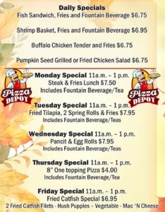 Pizza Depot Nov Specials