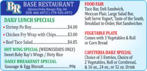 Base Restaurant Dec. Specials