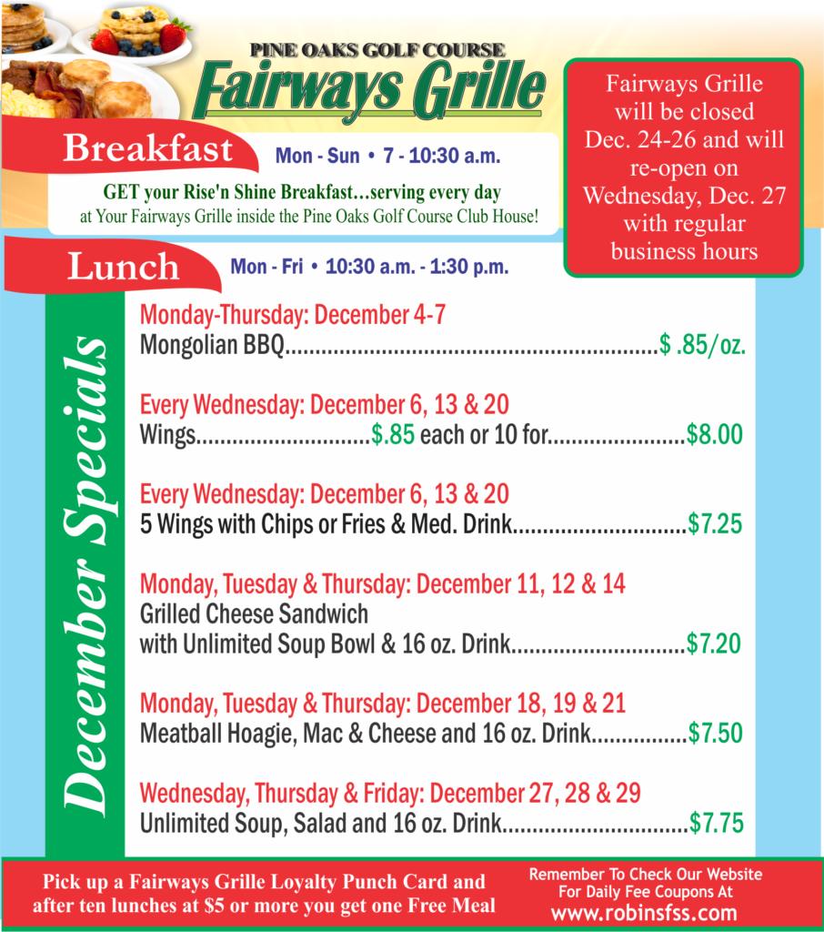 Fairways Grille Dec Special