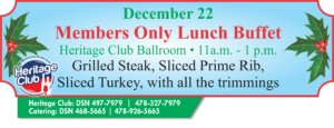 Heritage Club Members Only, Lunch Buffet