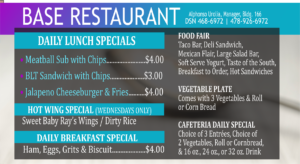 Base Restaurant January Daily Specials