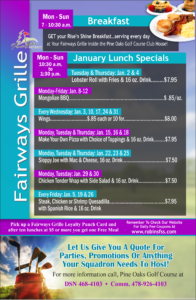 Fairways Grille January Specials