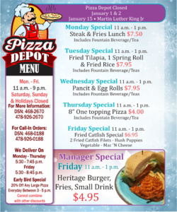Pizza Depot January Specials
