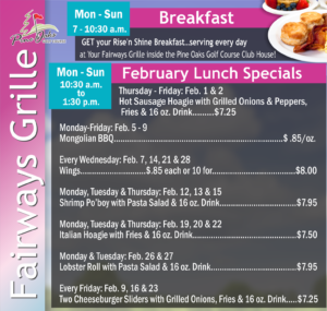 Fairways Grille Feb. Specials