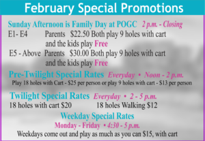 Golf Course Feb Special Promotions