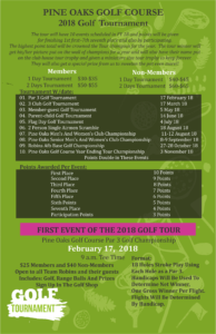 Pine Oaks Golf Course 2018 Tournaments