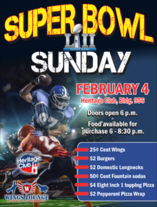 Super Bowl Sunday at the Heritage Club
