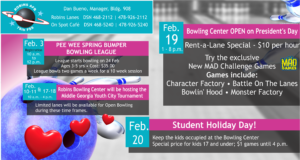 Bowling Center Events in Feb.